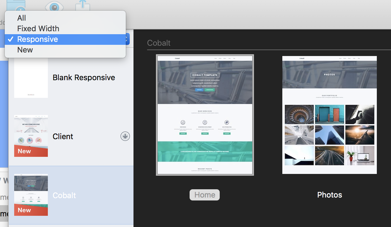 Viewing New responsive sites and existing templates - EverWeb